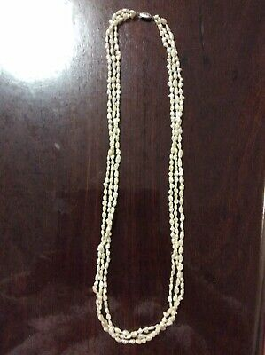 Vintage Multi Strand, Rice Pearl Necklace, Solid Silver Clasp