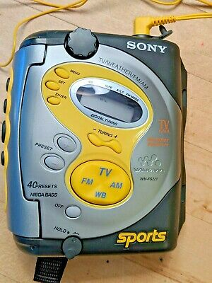 Sony Sports Walkman Wm-Fs221 Cassette Player Am/Fm/Tv/Weather W Headphones