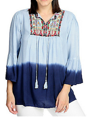 d7207dc8a8f OSO Casuals® Woven Dip-Dye Bell Sleeve Keyhole Tie-Neck Embroidered Top L