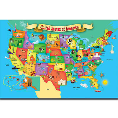 30 24x36 Poster Kids Education World Map Of USA Geography School T-961