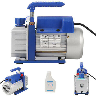 1/4HP 5Pa 2.5CFM Single-Stage Rotary Vane Vacuum Pump&Oil Bottle AC 220V 50Hz UK