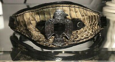 Vintage Native american Silver Eagle/Snake Leather Belt Buckle Chain Choker