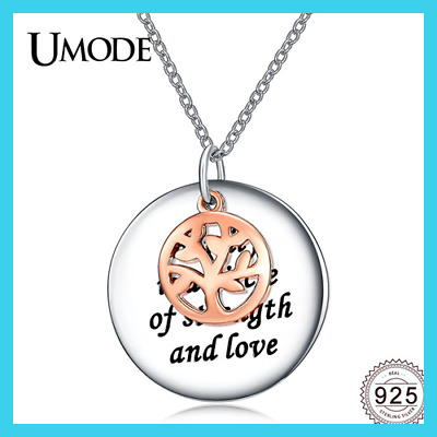 New Real 925 Sterling Silver Rose Gold Color Tree of Life Pendant