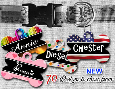 Personalized Pet Name ID Tags for Dog, Custom Double Sided Cool BONE Shape LOOK!