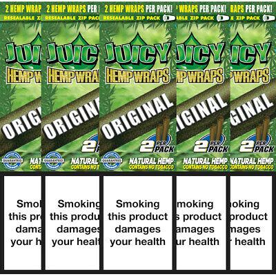 5 Flavoured Packs of Juicy Jays Original Blunt Rolling Papers 10 Wraps Bundle