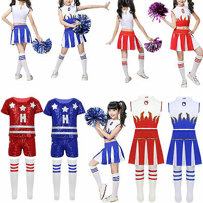 Girls Cheerleader Costume Child Kids Cheer Leader Party Fancy Dress Dance Outfit