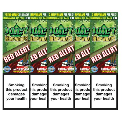 5 Flavoured Packs of Juicy Jays Red Alert Blunt Rolling Papers 10 Wraps Bundle