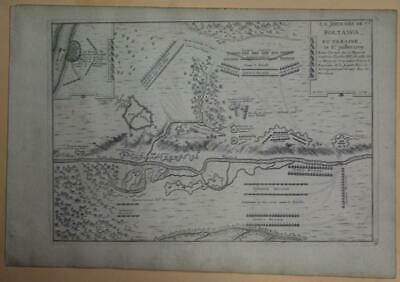 Poltava Battle Of Poltava Ukraine 1714 De Fer Scarce Antique Copper Engraved Map