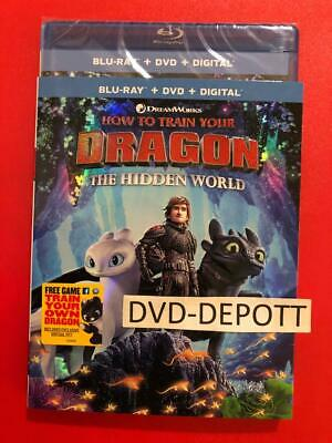 How to Train your Dragon:The Hidden World Blu-Ray/DVD/Digital & Slipcover New