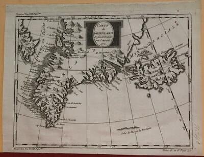 Greenland & Iceland 1770 Jacques Nicolas Bellin Antique Copper Engraved Map