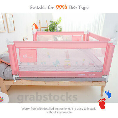 71''/1.8m Baby Children Toddlers Bed Rail Bedrail Crib Guard Safety Swing Down