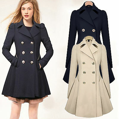 Winter Warm Women Long Slim Trench Coat Double Breasted Jacket Peacoat Overcoat