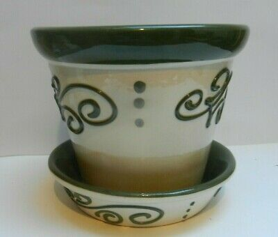 Pottery Brannam Pottery Green On White Dish For Flower Pot