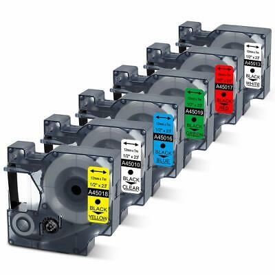 6x Replace  Dymo 45010 45013 45016 45017 45018 45019 12mm 0.47 Inch Label Tape