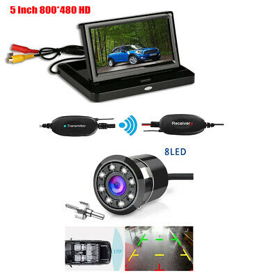 """Wireless 5"""" LCD Car Rear View Mirror Monitor+170° 8 LEDs Nightvision Camera Kit"""