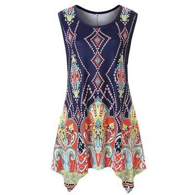 Crew neck tops vest womens floral ladies sleeveless loose t shirt summer casual