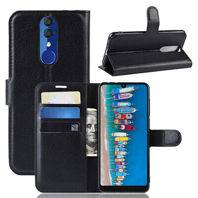 For Alcatel 3 2019 Luxury Litchi Card Wallet Flip PU Leather Skin Cover Case