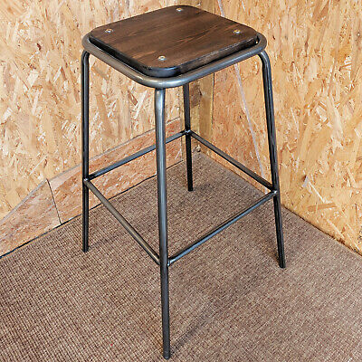 Gunmetal Grey Metal Lab Stool Wood Seat Retro Bistro Bar Cafe Tolix Industrial