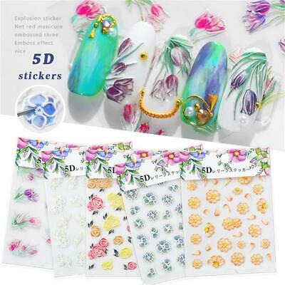3D Acrylic Embossed Flower Self Adhesive Nail Sticker Color Engraved Water Decal