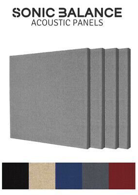 4X Acoustic Panels (GREY) - Square Broadband Absorbers for Pro/Home Studio