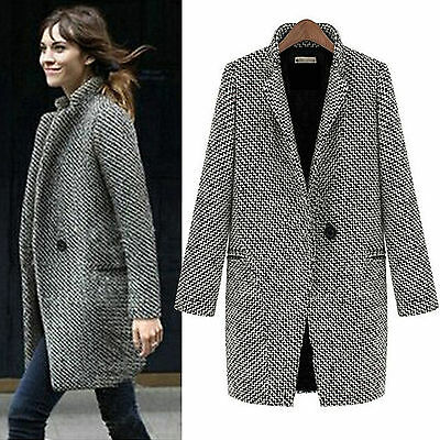 Fashion Womens Lapel Coat Trench Jacket Long Parka Overcoat Outwear Winter Warm