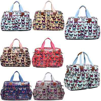 4pcs Butterfly Mummy Maternity Baby Nappy Diaper Changing Bag Set Wipe Clean