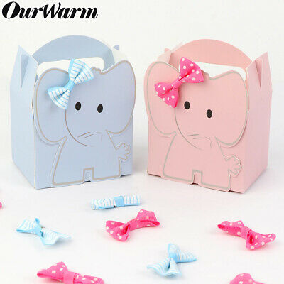 10x Elephant Fillable Candy Box Baby Shower Baptism Party Favour Christening