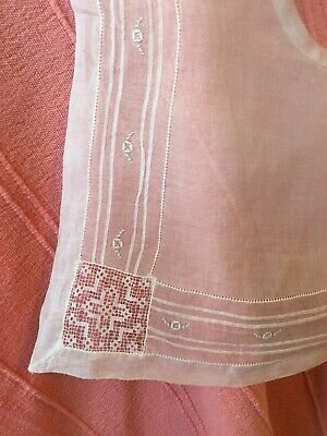 White Antique / Vintage Fine Sheer Fabric Collar Shawl Embroidered, Lace 37x41cm