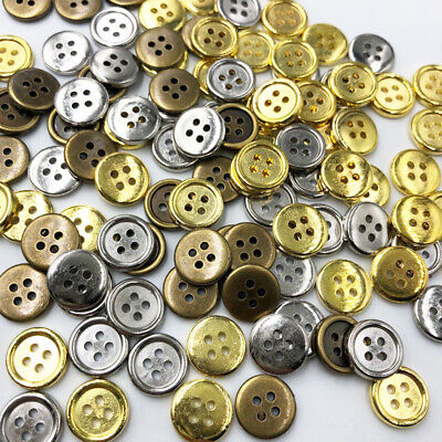 100pcs Silver/Bronze/Gold Plastic Buttons 12mm Sewing Craft 4 Holes PF290