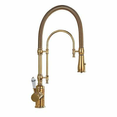 Golden Dual-Mode Pull-Down Swiveling Kitchen Faucet with Porcelain Single Handle