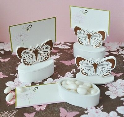 10 Boxes Wooden End Sugared Almonds Bags / Place Theme Butterfly - Party Favour