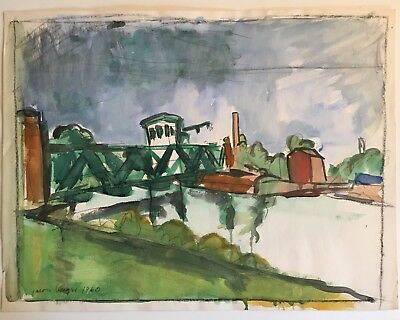 Jason Berger American Modern Boston Expressionist Watercolor Signed Listed 1960
