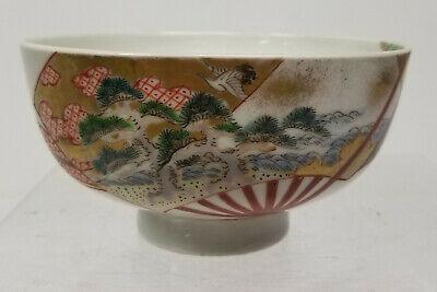 Antique Japanese Enameled Imari Bowl Landscape Decoration Unsigned