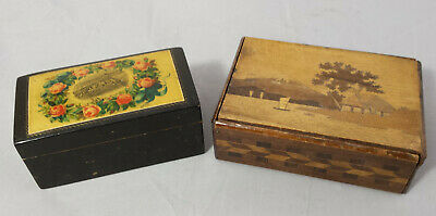2 x vintage boxes: 1 x Wood Marquetry Playing Card Box & 1 x Mauchline Ware Type