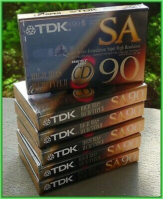 Vtg Lot Of 6 New Tdk Sa90 High Bias Cassette Tapes Free Ship