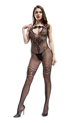 Cindylove The Rhianna Body Stocking with Open Gusset Bow Tie neck Line Back Seam