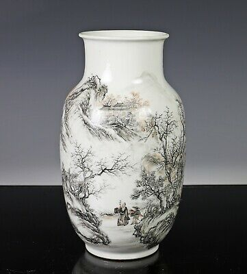 Finely Painted Old Chinese Republic Period Vase in Grisaille with Landscape