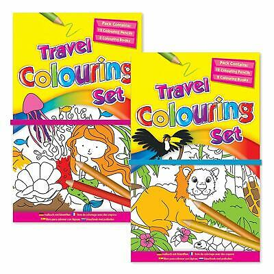 Childrens Kids Travel Colouring Set Includes 2x 30 Page Books & 12 Colouring Pen