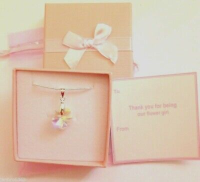 Clear AB Flower Necklaces Flower Girl Favour Gift Tag Box organza Bag