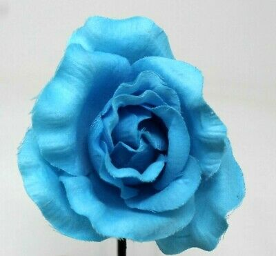 Turquoise Blue Rose Head Alice Band On A Satin Band Festival Wedding Races Prom