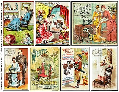 VICTORIAN ERA ADVERTISING CARD Stickers, SEWING, 1 Sheet, 7 Collage Journal Tags