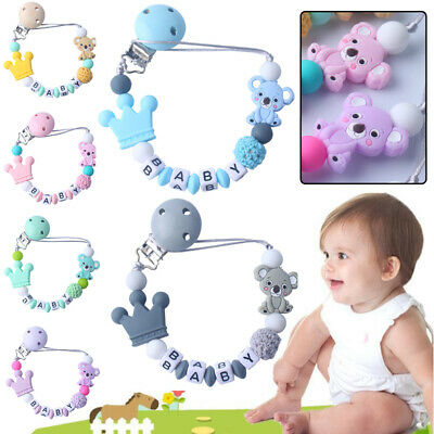 Baby Cute Silicone Wooden Pacifier Clip Soother Chains Bear Crown Nipple Teether