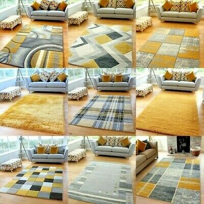 Mustard Ochre Silver Modern Soft Thick Shag Rugs Small Extra Large Mats Cheap