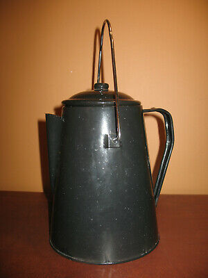 Coffee Pot Black Speckled Enamelware Graniteware Cowboy Enamel Camping Vintage