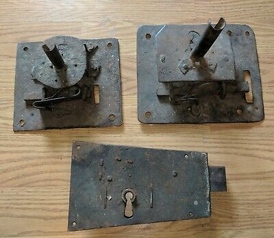 3 Antique American 18th 19th Century Iron Door Locks Architectural Salvage