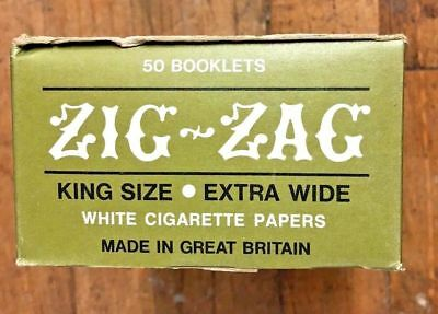 VINTAGE 1980's Cigarette ZIG-ZAG King Size Rolling Papers BOX OF 50 VHTF