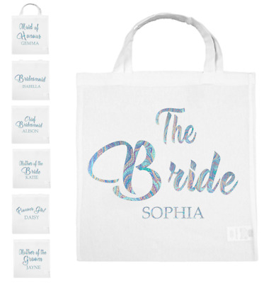 Personalised Team BRIDE GROOM to be Tote Bags Wedding Squad Hen Silver Gift Bag