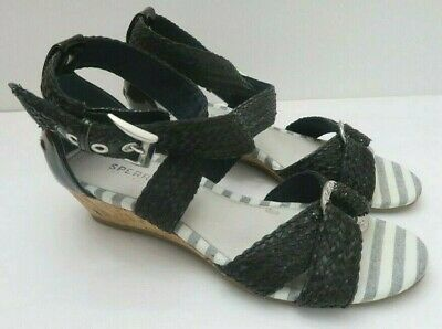 e16ede634a Sperry Top-Sider Womens Wedge Sandals Alvina Espadrille Braided Black Size  6M