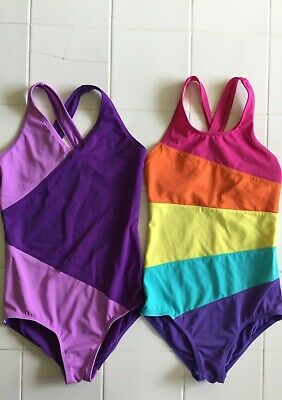 59a44566bb366 Land's End Girls One Piece Swimsuit Lot of 2 Size 8 Purple and Rainbow