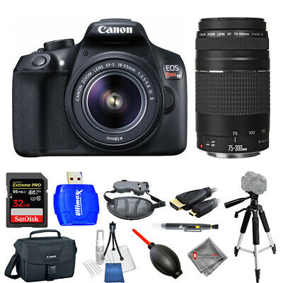 Canon EOS Rebel T6 with 18-55mm + 75-300mm 32GB Tripod BUNDLE AUTHORIZED DEALER